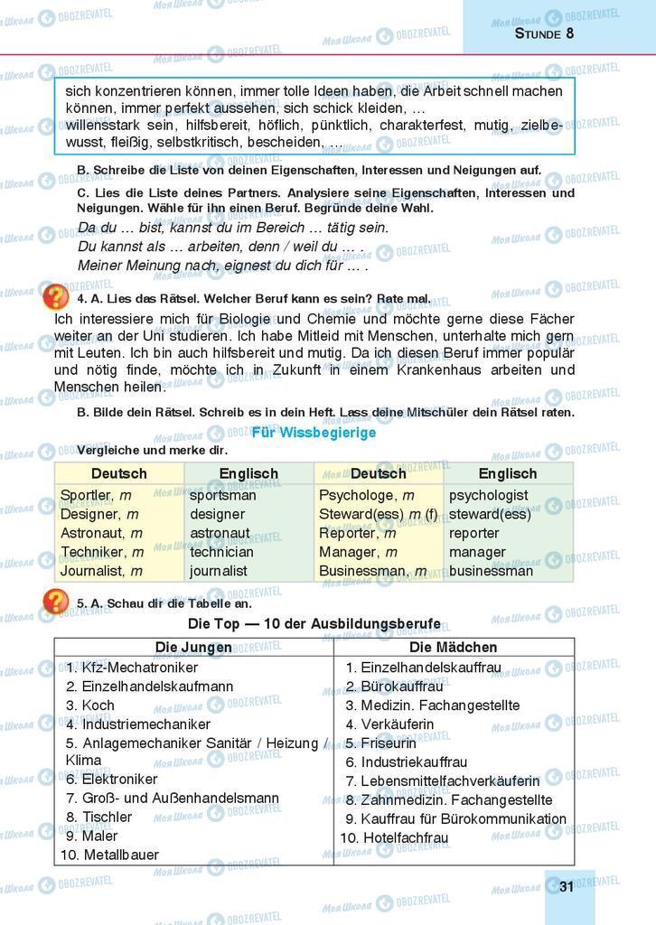 Підручники Німецька мова 9 клас сторінка 31
