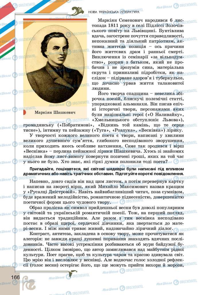 Підручники Українська література 9 клас сторінка 166