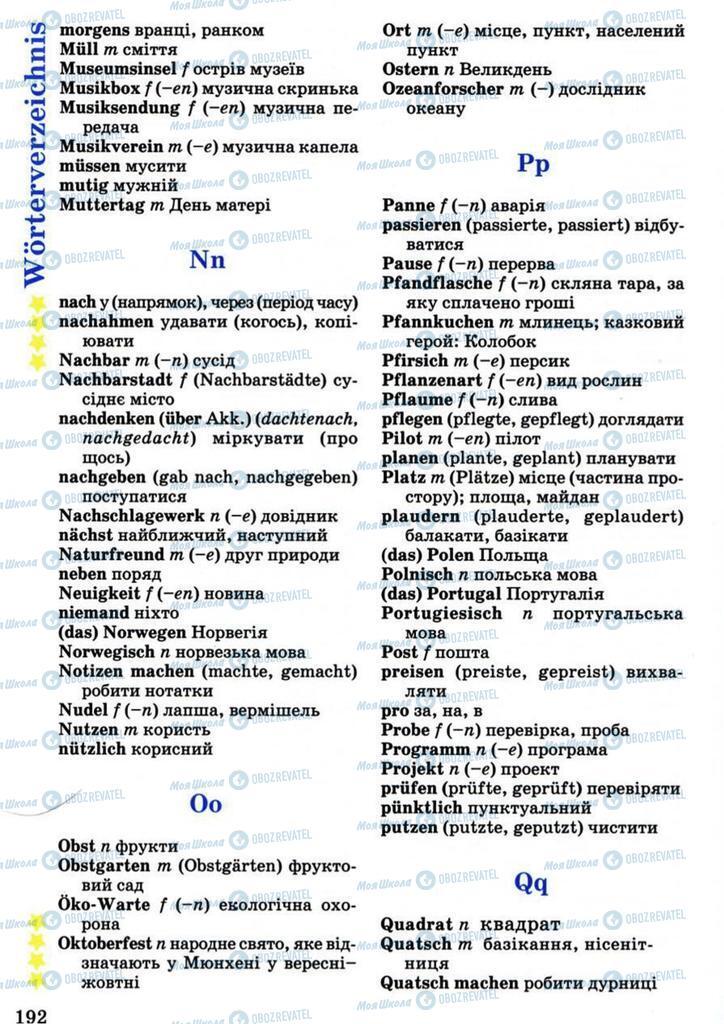 Підручники Німецька мова 7 клас сторінка 192