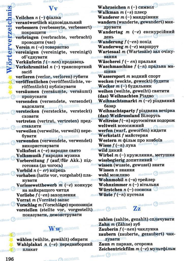 Підручники Німецька мова 7 клас сторінка 196