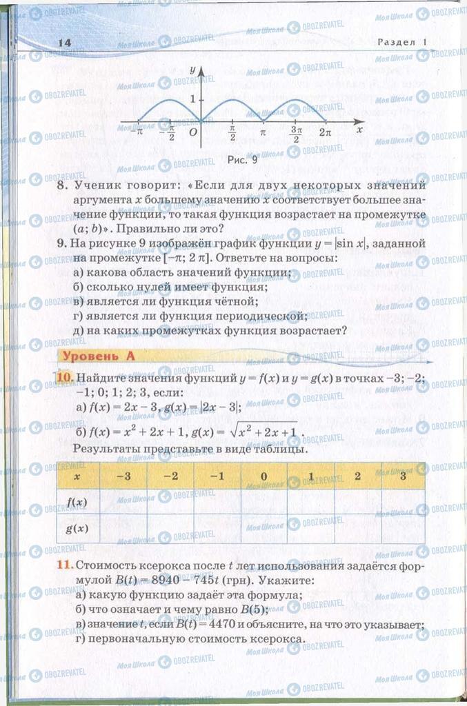 Підручники Алгебра 11 клас сторінка 14