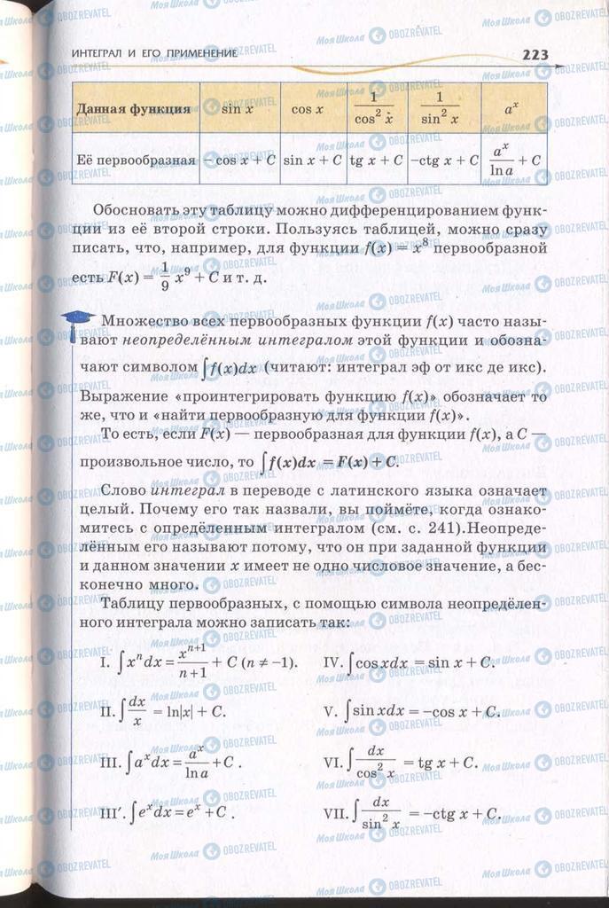 Підручники Алгебра 11 клас сторінка 223
