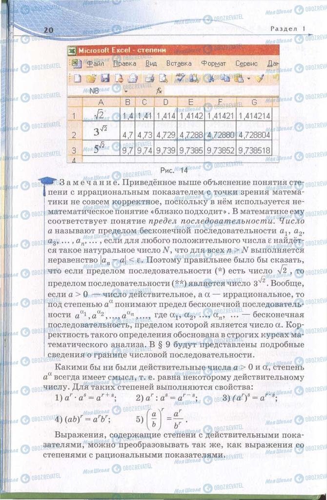Підручники Алгебра 11 клас сторінка 20