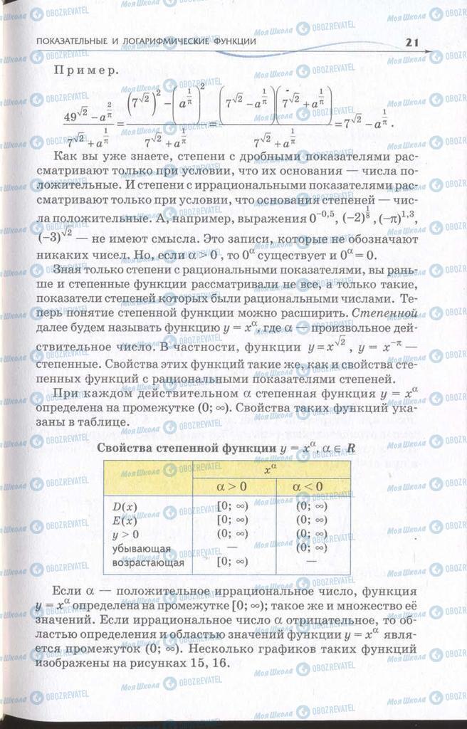 Підручники Алгебра 11 клас сторінка 21