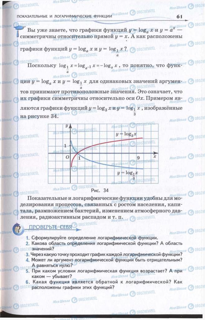 Підручники Алгебра 11 клас сторінка 61