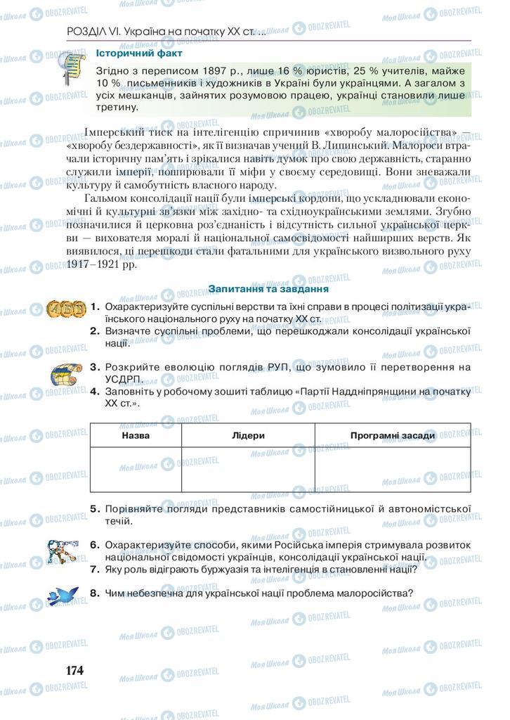 Підручники Історія України 9 клас сторінка 174