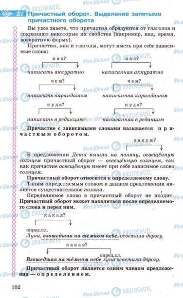 Підручники Російська мова 7 клас сторінка 102