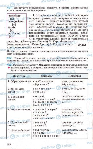 Підручники Російська мова 7 клас сторінка 168