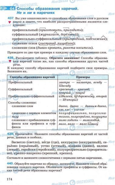 Підручники Російська мова 7 клас сторінка 174