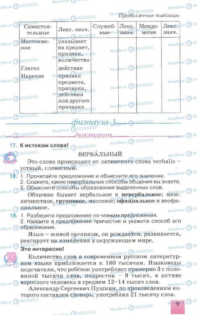 Підручники Російська мова 7 клас сторінка 9