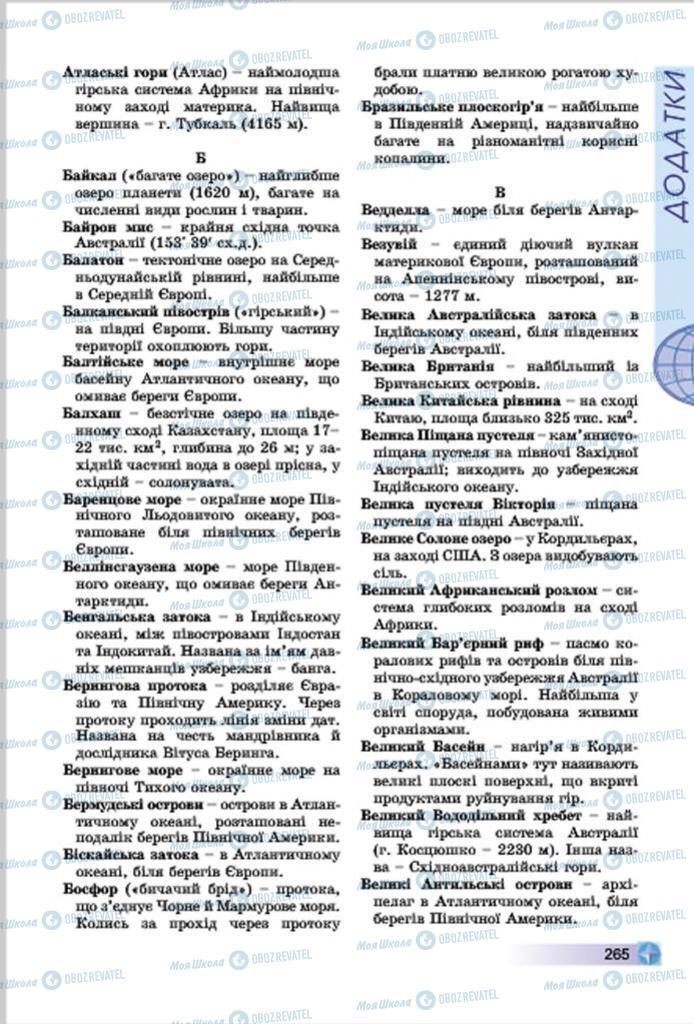 Підручники Географія 7 клас сторінка  265