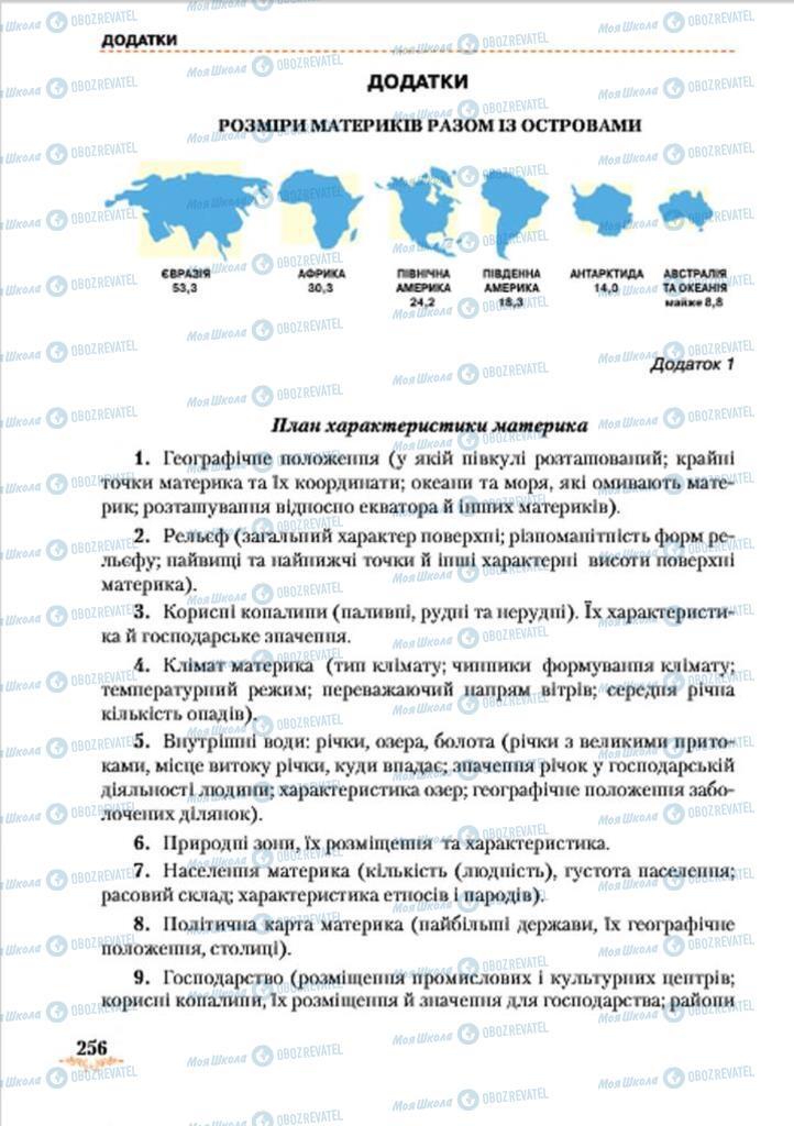 Підручники Географія 7 клас сторінка  256