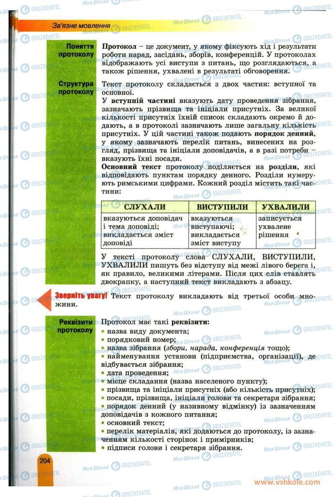 Підручники Українська мова 11 клас сторінка 204