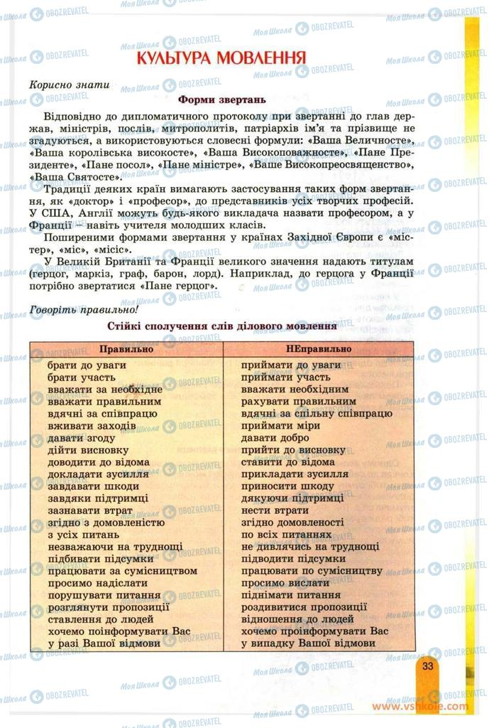 Підручники Українська мова 11 клас сторінка 33