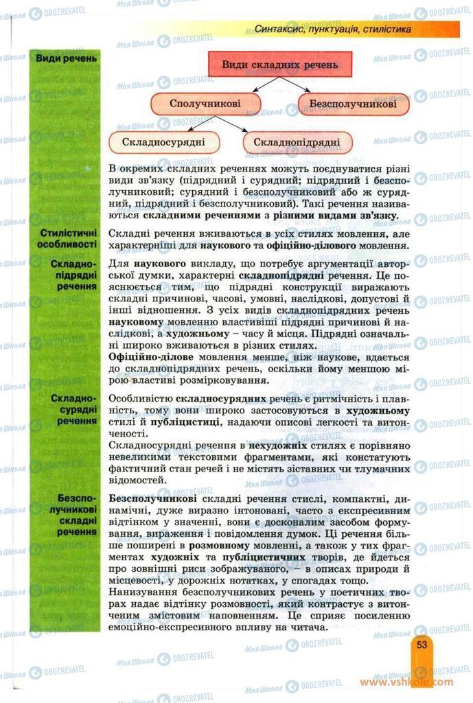 Підручники Українська мова 11 клас сторінка 53