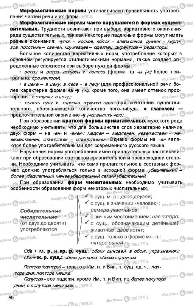 Підручники Російська мова 11 клас сторінка 50