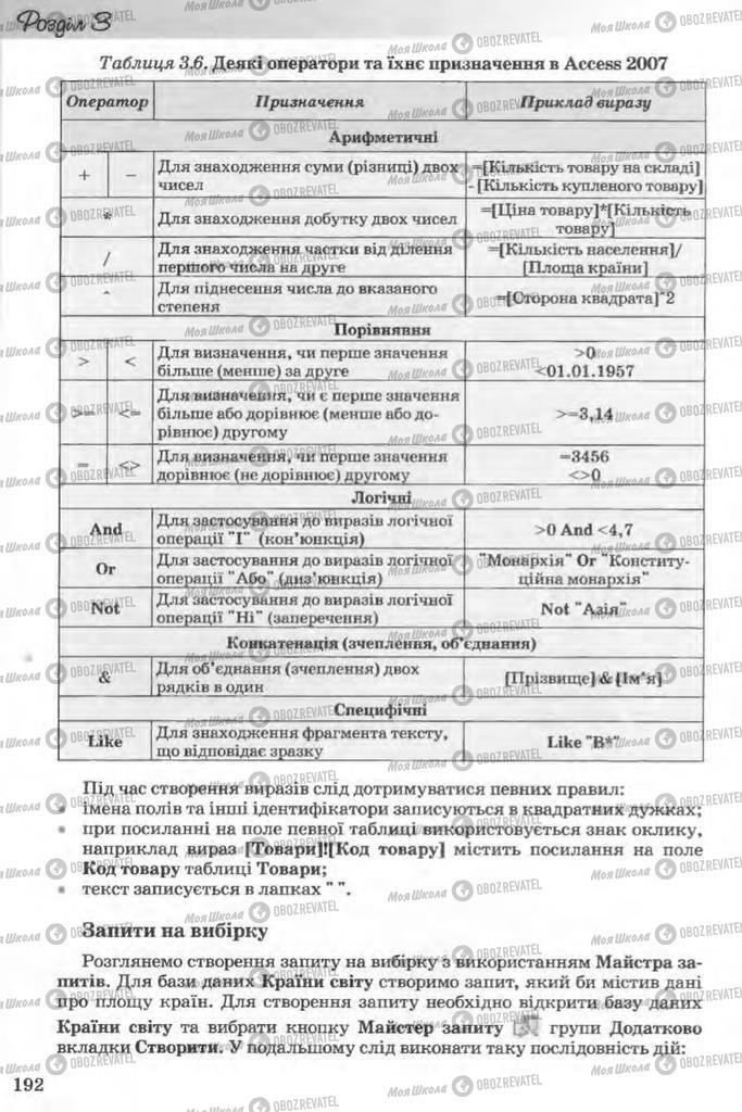 Підручники Інформатика 11 клас сторінка 192