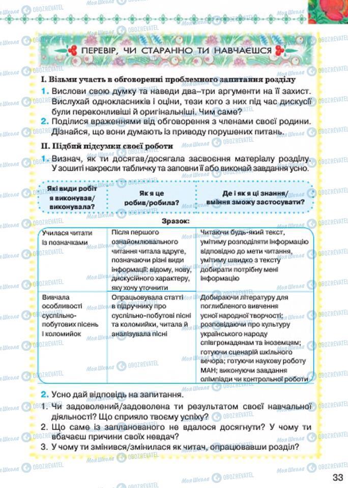 Підручники Українська література 7 клас сторінка 33