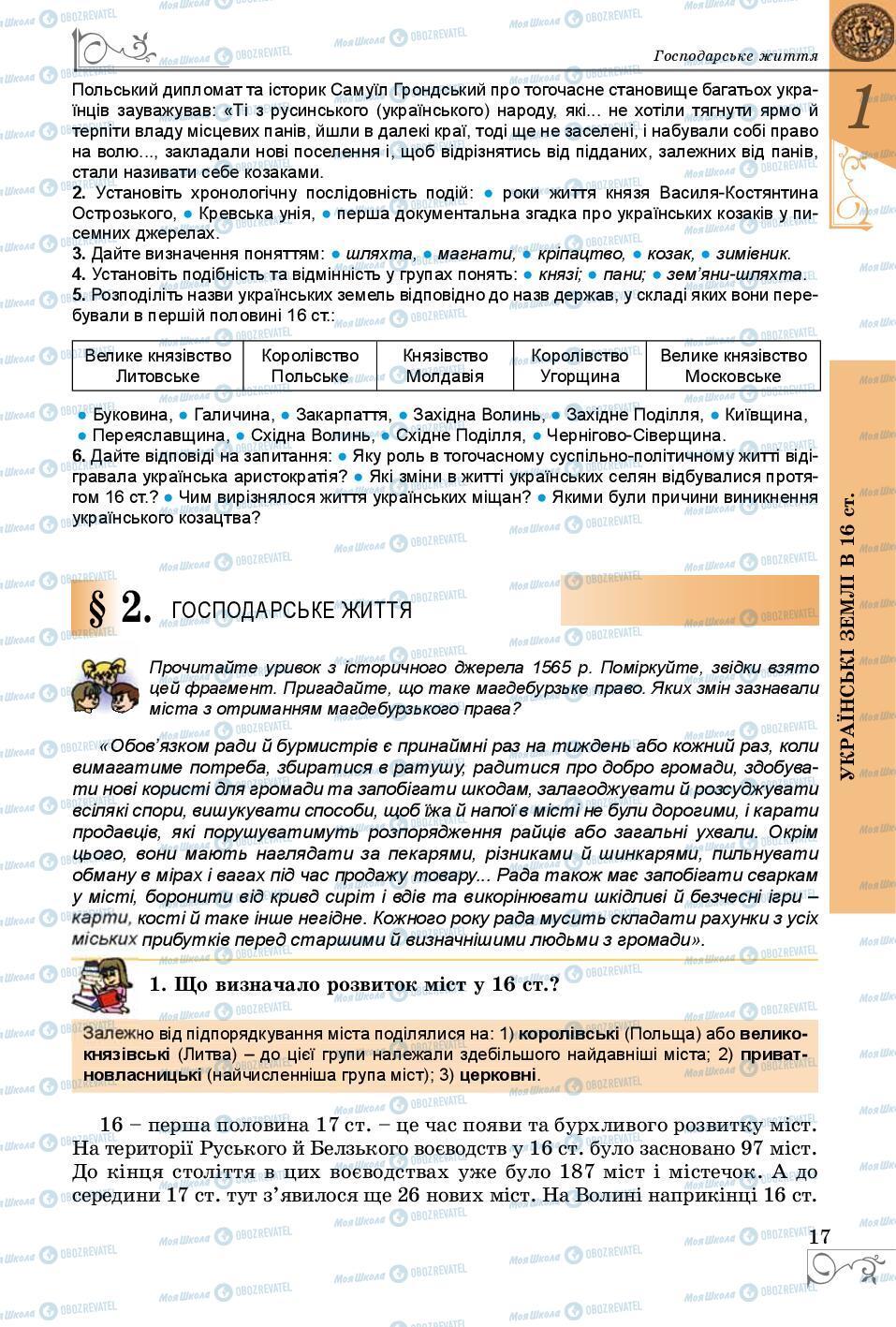 Підручники Історія України 8 клас сторінка  17