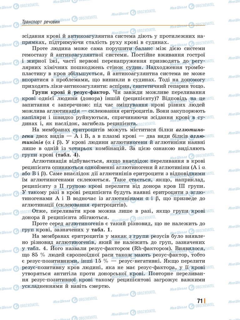 Підручники Біологія 8 клас сторінка 71