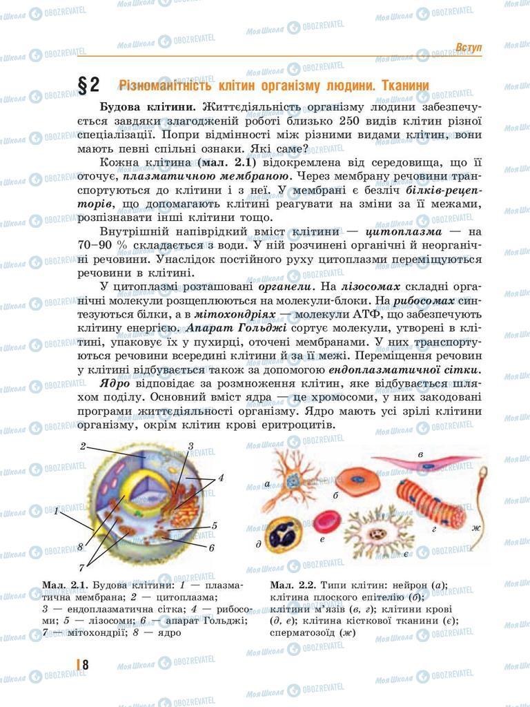 Підручники Біологія 8 клас сторінка 8