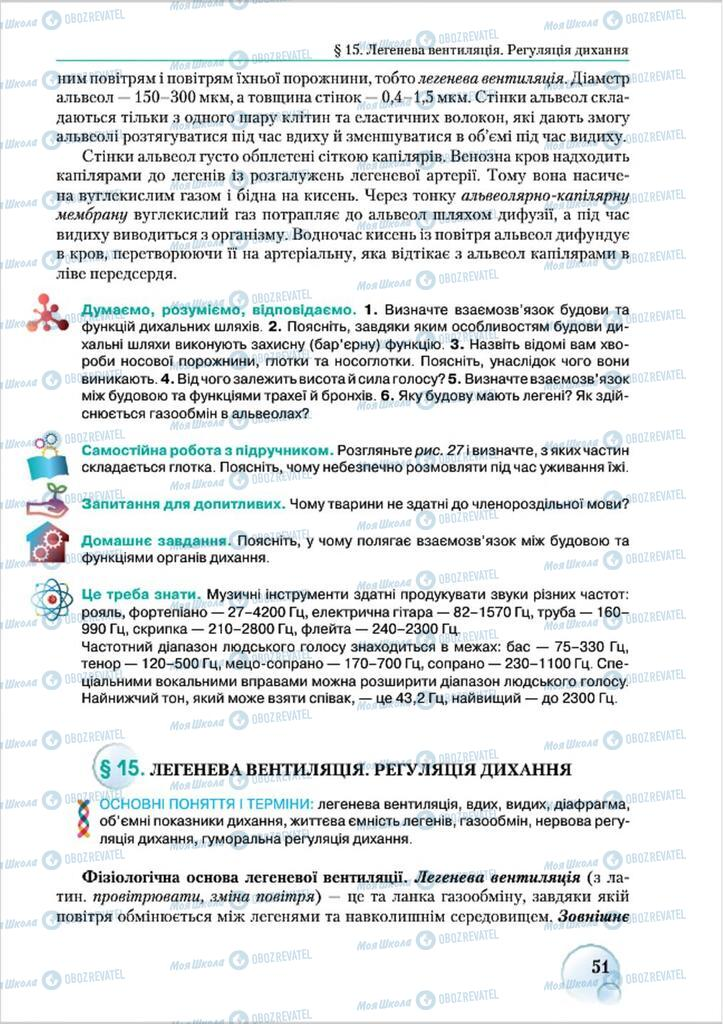 Підручники Біологія 8 клас сторінка 51