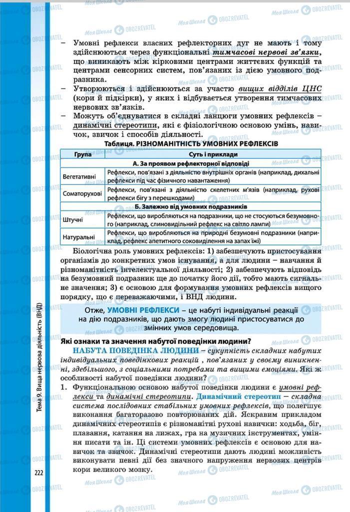 Підручники Біологія 8 клас сторінка 222