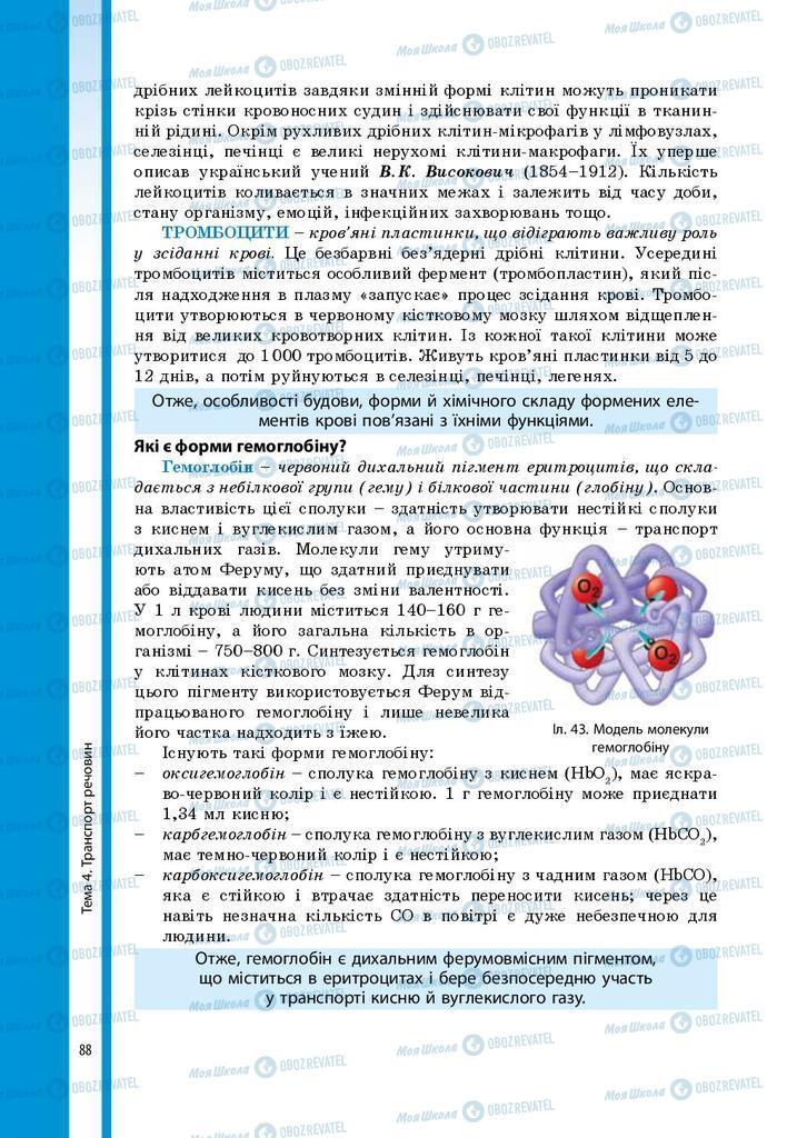 Підручники Біологія 8 клас сторінка 88