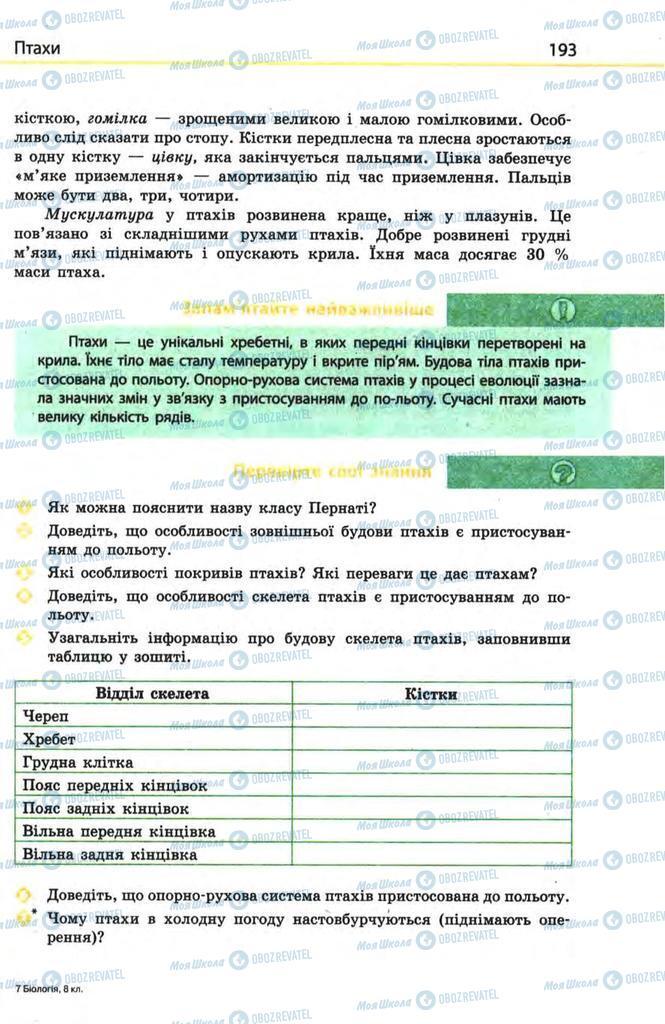 Підручники Біологія 8 клас сторінка  193