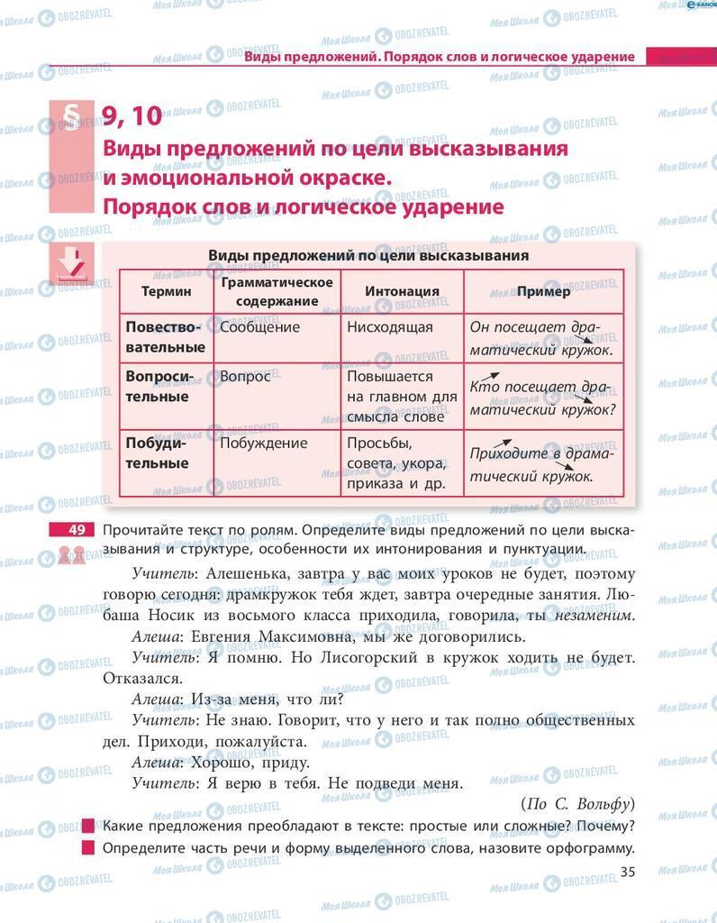 Учебники Русский язык 8 класс страница  35