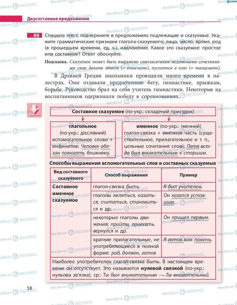 Учебники Русский язык 8 класс страница  58