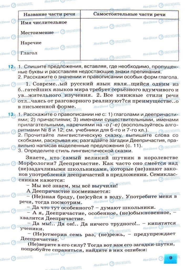 Підручники Російська мова 8 клас сторінка 9