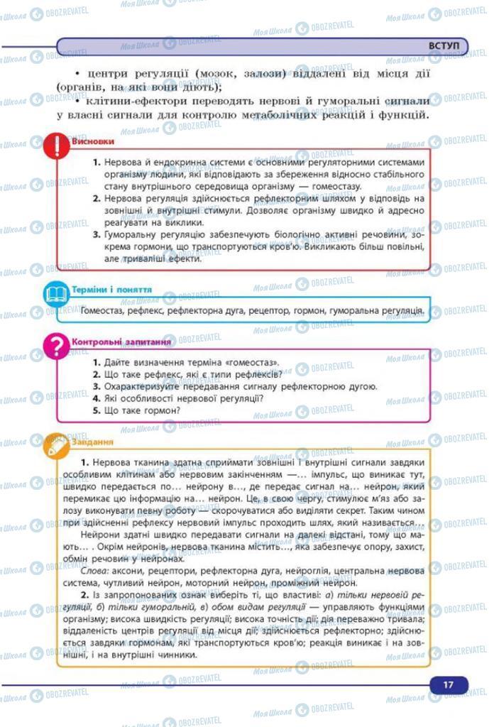Учебники Биология 8 класс страница 17
