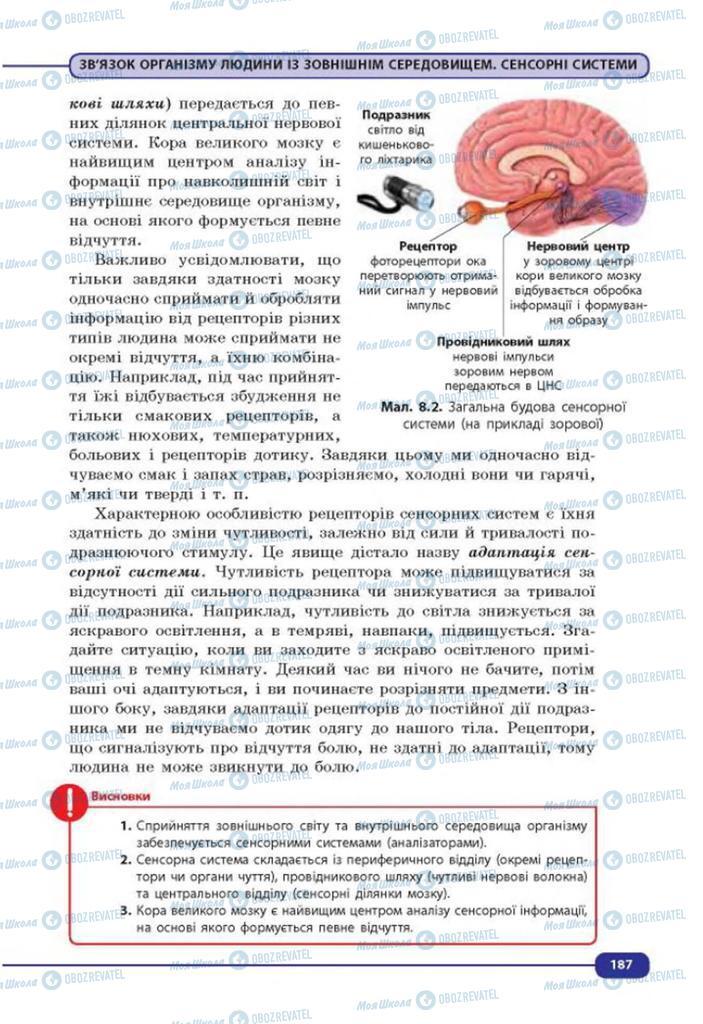 Учебники Биология 8 класс страница 187