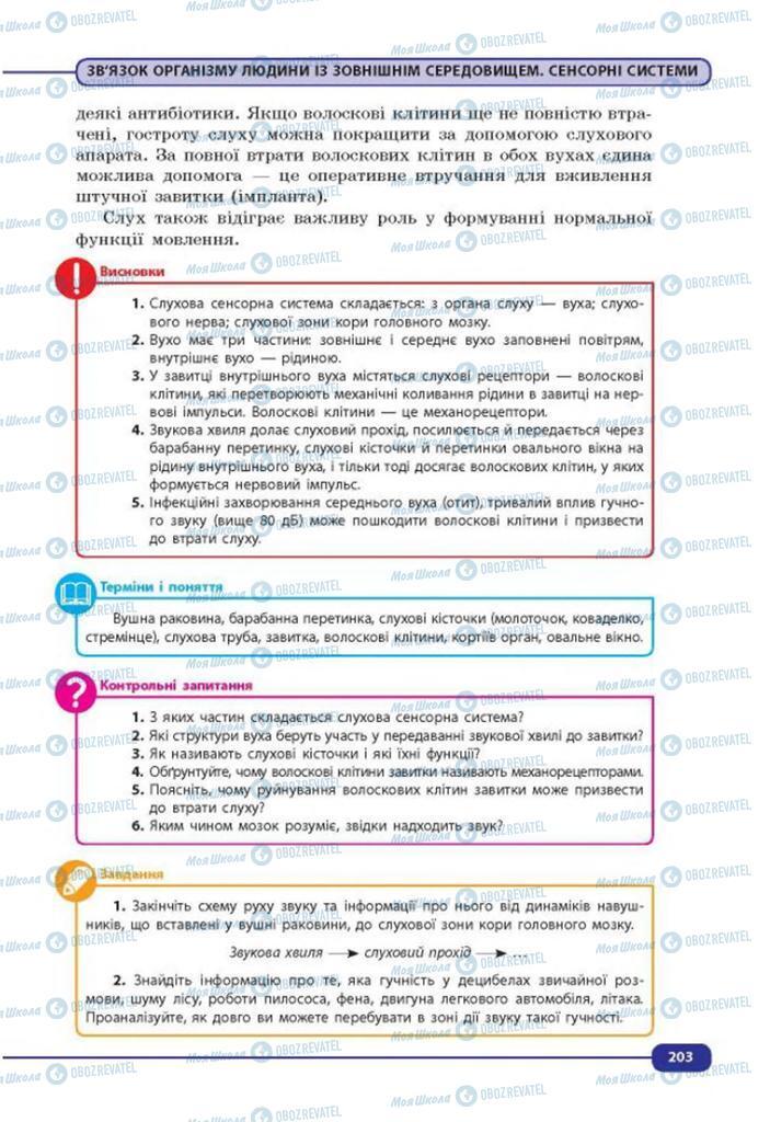 Учебники Биология 8 класс страница 203