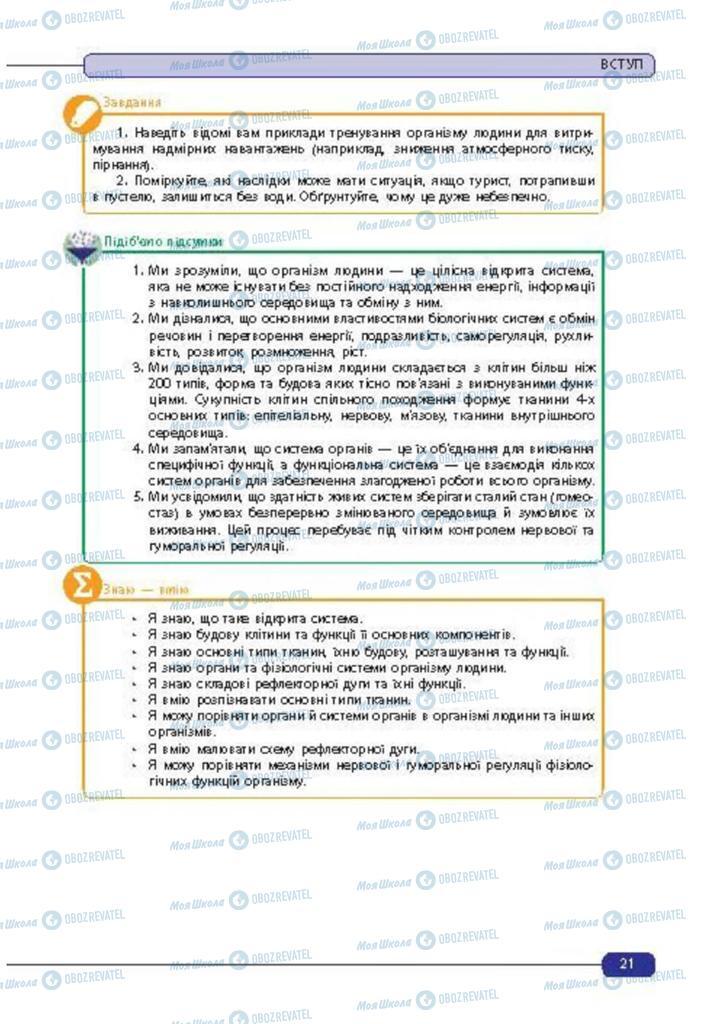 Підручники Біологія 8 клас сторінка 21