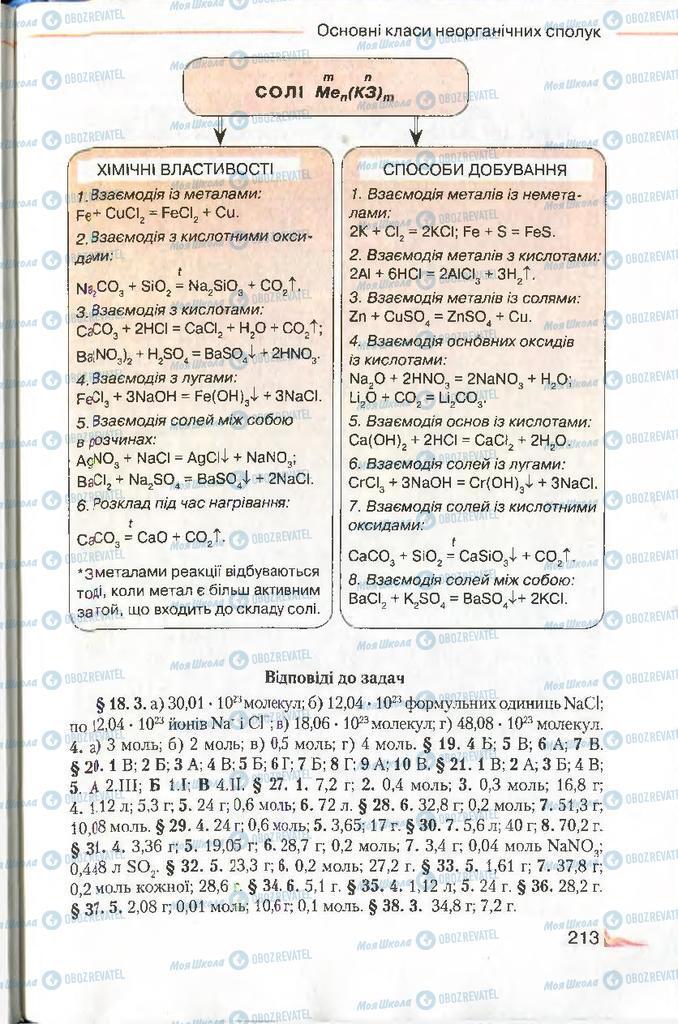 Підручники Хімія 8 клас сторінка 213