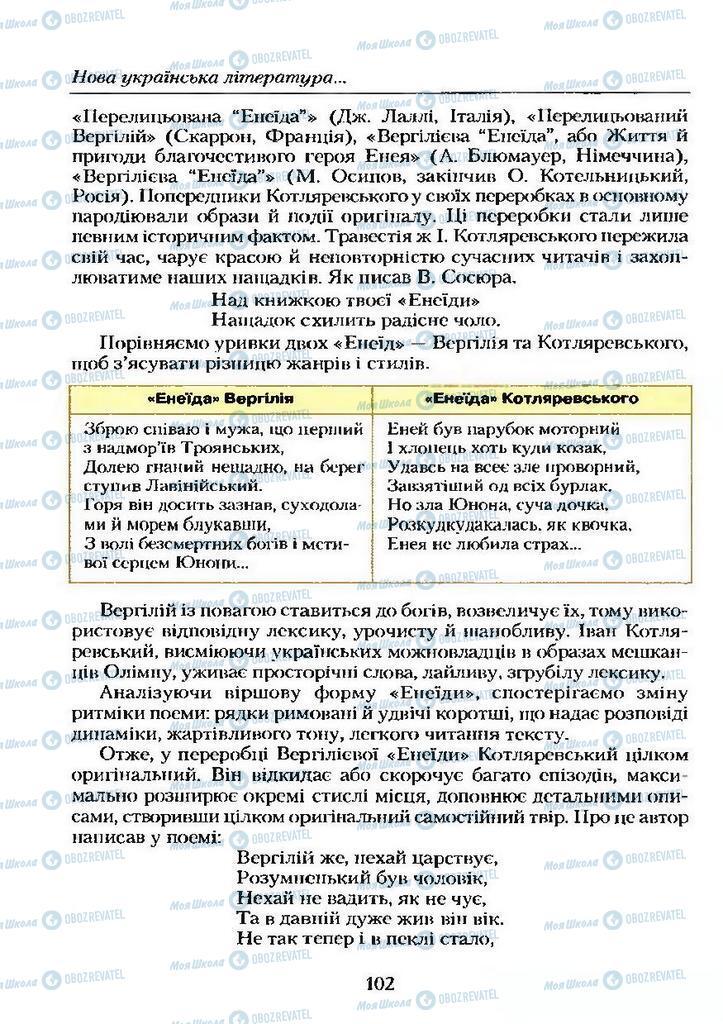 Учебники Укр лит 9 класс страница  102
