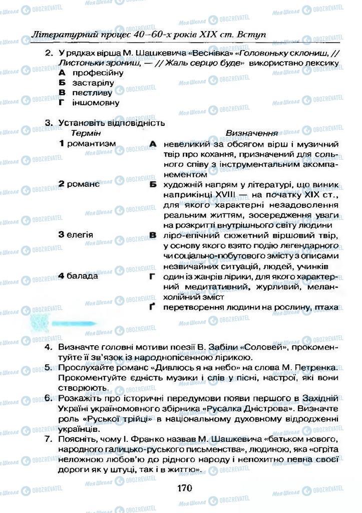Учебники Укр лит 9 класс страница  170