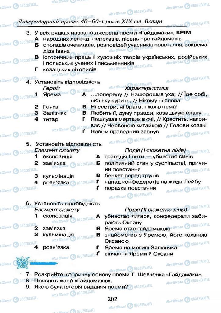 Учебники Укр лит 9 класс страница  202