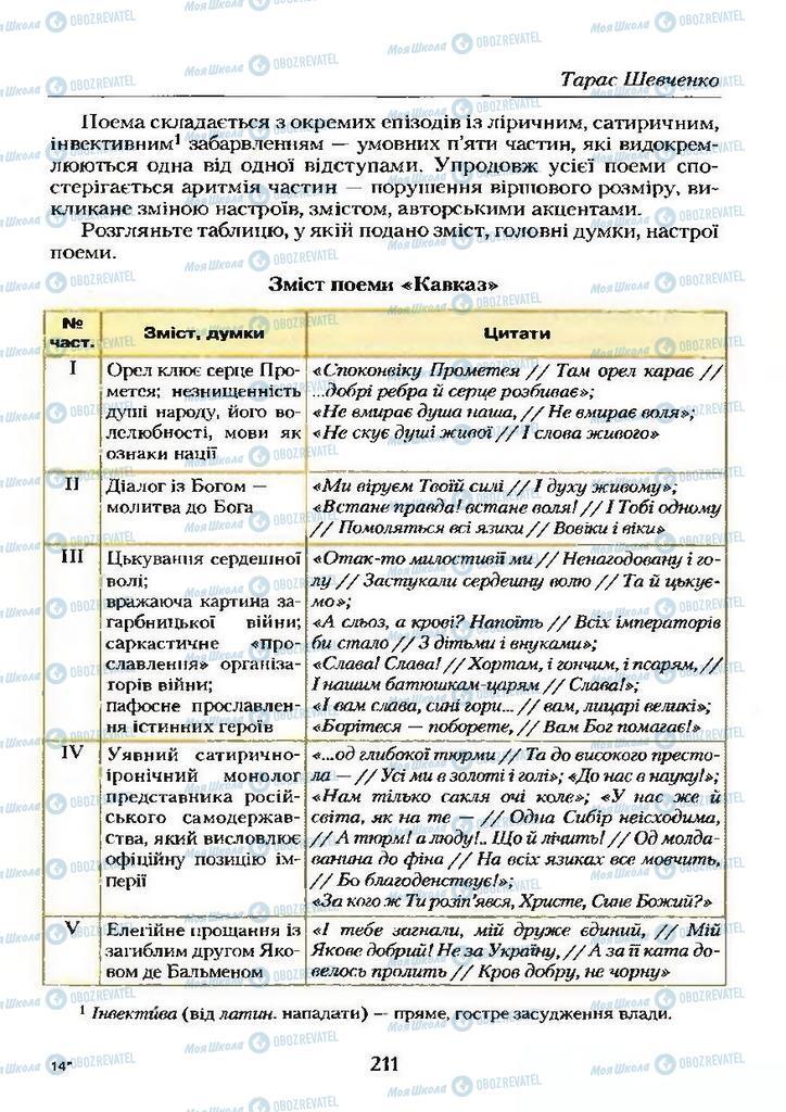 Учебники Укр лит 9 класс страница  211