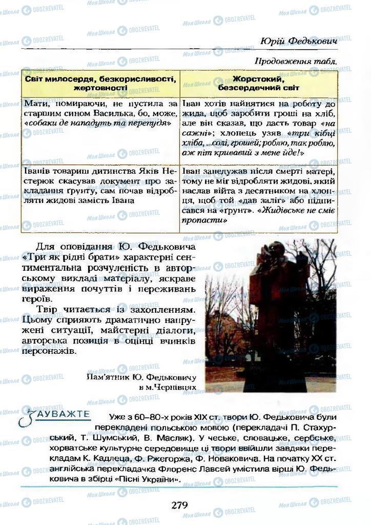 Учебники Укр лит 9 класс страница  279