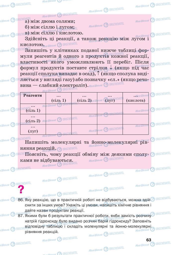 Підручники Хімія 9 клас сторінка 63