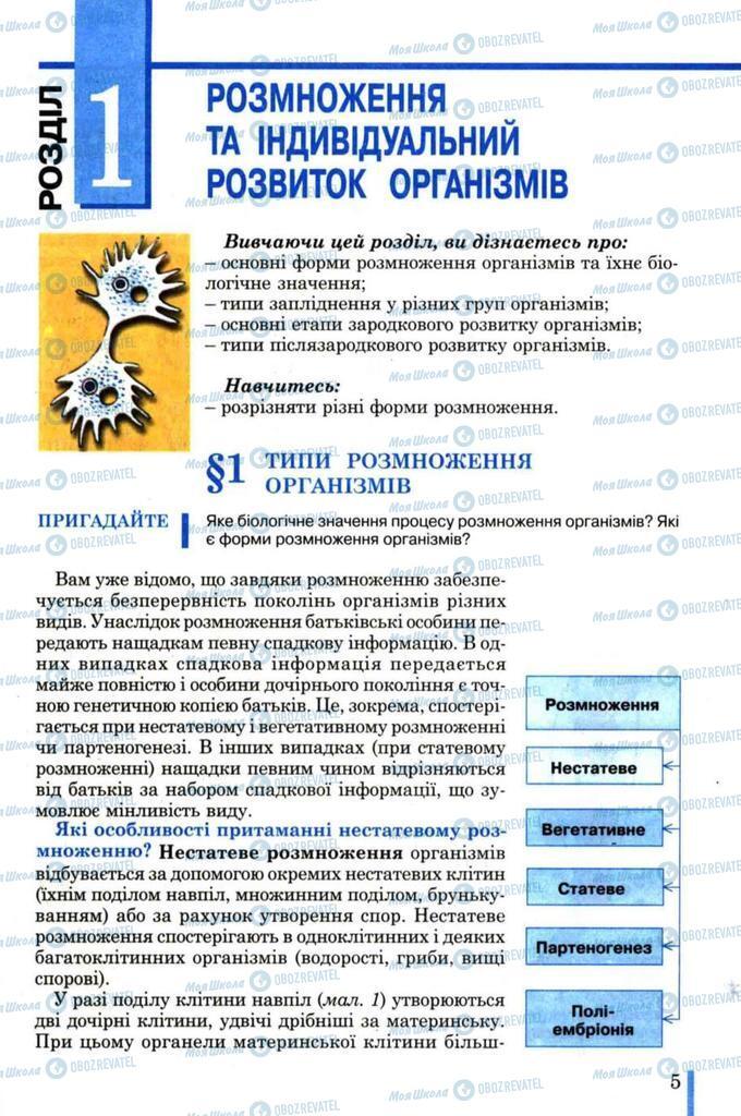 Підручники Біологія 11 клас сторінка  5