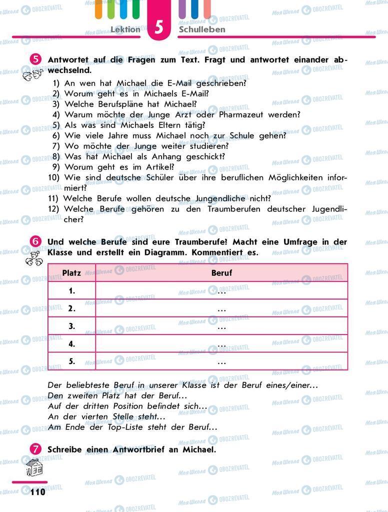 Підручники Німецька мова 9 клас сторінка 110