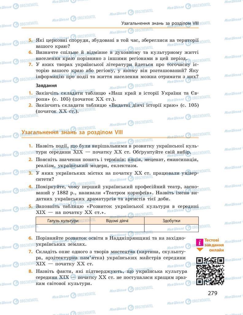 Підручники Історія України 9 клас сторінка 279
