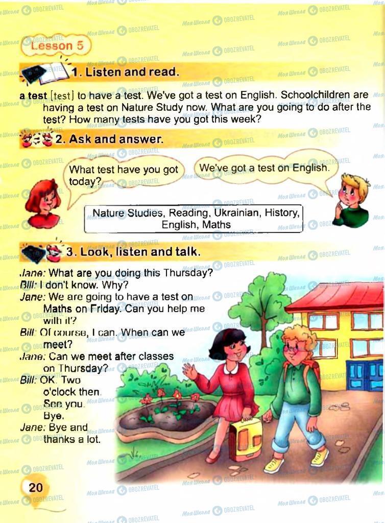 Підручники Англійська мова 3 клас сторінка 20