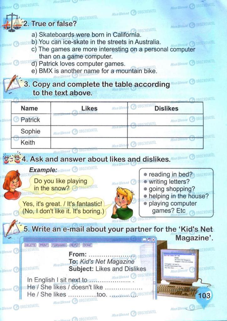 Підручники Англійська мова 4 клас сторінка 103