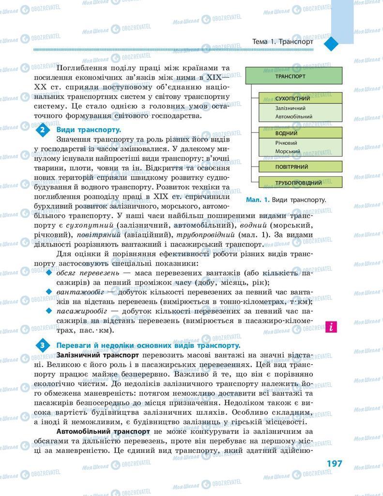 Підручники Географія 9 клас сторінка  197