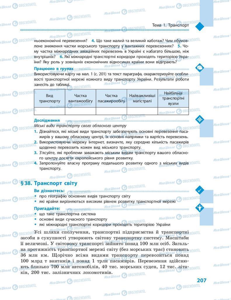 Підручники Географія 9 клас сторінка 207